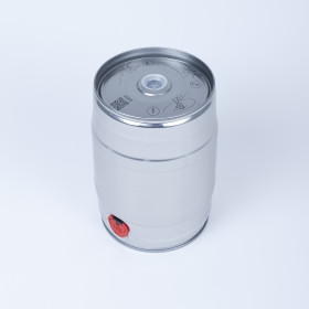 Bierfass 5 Liter, metallisch silberfarben