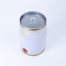 Bierfass 5 Liter, weiß/gold mit Braumotiv